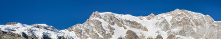 East wall of Monte Rosa with the highest peaks, Macugnaga, Italy. Are visible the Tre Amici tip, Gnifetti tip, Zumstein, the Dufour tip, the Nordend, the Jagerhorn