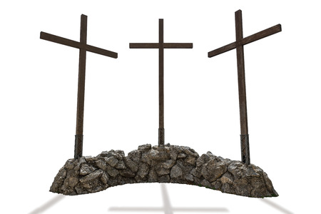 Three wooden crosses isolated on a white background