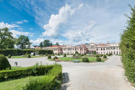 Typical and famous symmetrical Italian garden (giardino allitaliana) or formal garden (giardino formale), in the city center of Varese, Italy. Public gardens or Estensi gardens, mid 18th century