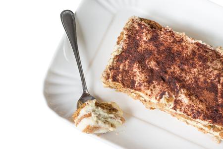 Italian dessert, homemade tiramisu on white background