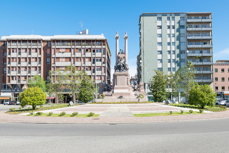 Gallarate city, Italy. Square Risorgimento and monument to the fallen for the homeland (caduti per la patria) of the war of 1915 – 1918 ( first and second world war) Zdjęcie Seryjne