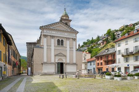 Locarno, square SantAntonio and the Collegiate Church of SantAntonio Abate (XIV-XIX century) located in the historic part of the city. Locarno is an important tourist city located on Lake Maggiore