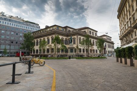 Historical center of Milan, north Italy, Piazza Cesare Beccaria (square Caesar Beccaria), where the local police command is located. Square  near the Duomo (cathedral) of Milan