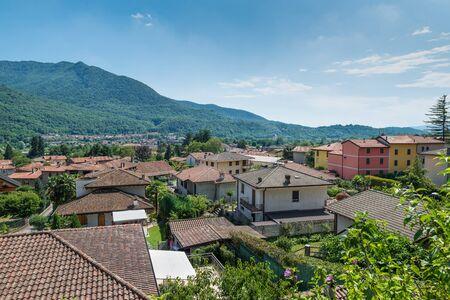 Valcuvia with Cuveglio and in the background Cuvio and the Campo dei Fiori massif, Regional park, province of Varese, northern Italy Zdjęcie Seryjne
