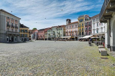 Locarno, Switzerland, square Grande (piazza Grande) with shops and restaurants located in the historic center of the city Locarno is an important tourist city located on lake Maggiore