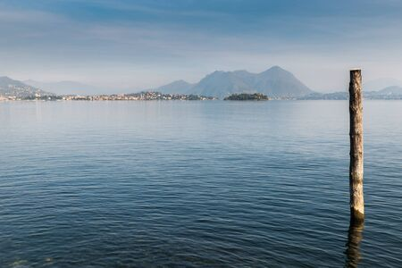Big Italian lake. Lake Maggiore at the town of Baveno. View towards Pallanza, the Isola Madre and in the distance on the right is the town of Laveno Banco de Imagens