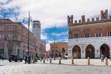 Piacenza, medieval town, Italy. City center with piazza Cavalli (square horses), palazzo Gotico (gothic palace - XIII century) and palazzo dei Mercanti (merchants palace - XVII century). Padan Plain