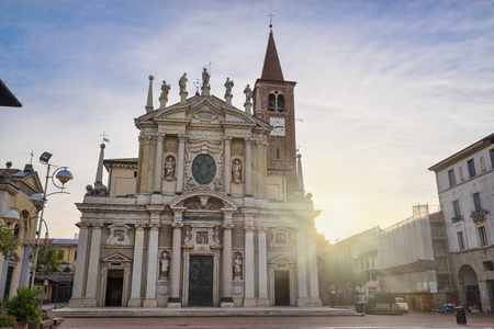 Historic center of an Italian city. Busto Arsizio town, piazza San Giovanni (square Saint Giovanni) with the Basilica San Giovanni Battista (XIII-XVII century), City in the province of Varese, Italy