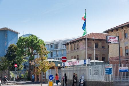 Busto Arsizio, Italy – September 30, 2019: Hospital di Circolo (ospedale di Circolo) of Busto Arsizio, street Arnaldo da Brescia, province of Varese, Lombardy. Entrance to the hospital