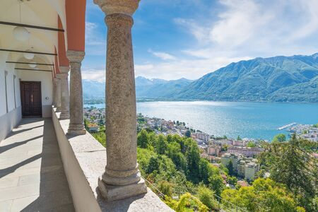 Big Swiss lake. Scenic view of lake Maggiore from Madonna del Sasso Sanctuary (15th century) with the city of Locarno down below. Locarno is an important tourist city of Switzerland on lake Maggiore