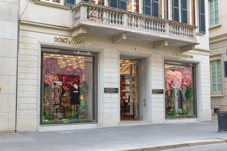 Milan, Italy - August 10, 2017: Dolce & Gabbana shop in via Montenapoleone, street of the Milan fashion district known as the Quadrilatero della moda. Concept of luxury, shopping and made in Italy
