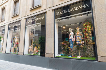 Milan, Italy - August 10, 2017: Dolce & Gabbana shop in via della Spiga, street of the Milan fashion district known as the Quadrilatero della moda. Concept of luxury, shopping and made in Italy