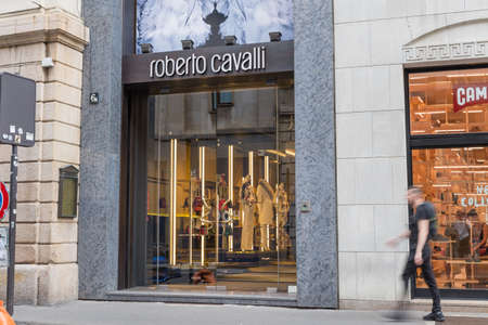 Milan, Italy - August 10, 2017: Roberto Cavalli shop in via Montenapoleone, street of the Milan fashion district known as the Quadrilatero della moda. Concept of luxury, shopping and made in Italy