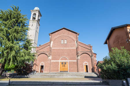 Center of the city of Cardano al Campo, Italy, with the main church. Parish of S. Anastasio, Sant'Anastasio square