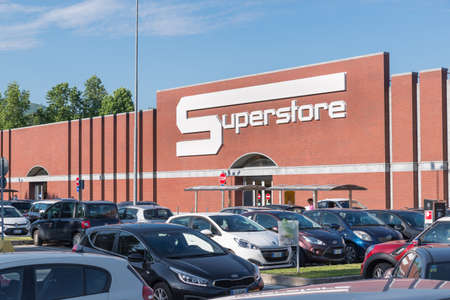 Varese, Italy - May 25, 2018:  Esselunga superstore. Esselunga S.p.A. is an Italian retail store chain, founded in 1957 with over 150 stores, and one of the largest Italian companies by turnover
