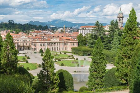 Typical and famous symmetrical Italian garden (giardino all'italiana) or formal garden (giardino formale), in the city center of Varese, Italy. Public gardens or Estensi gardens, mid 18th century