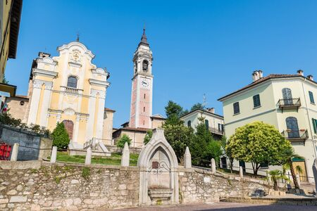 Traditional historic center on Lake Maggiore, Italy. Arona, square S. Graziano with the church of Santi Martiri or church of San Graziano (15-18  century)