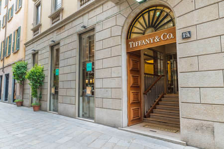 Milan, Italy - August 10, 2017: Tiffany & Co (Tiffany's) shop in an exclusive area of Milan, street della Spiga. Symbol and concept of luxury, shopping, quality and made in America