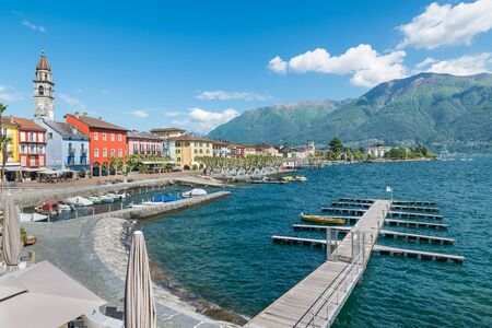 Big Swiss lake. Scenic view of lake Maggiore from lakeside of Ascona. Ascona is an important tourist town of Switzerland