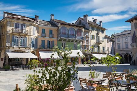 Beautiful square in an old city in Europe. Domodossola, ancient city in northern Italy, historic center Reklamní fotografie