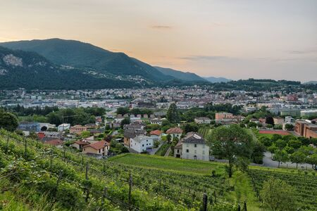 Swiss city at sunrise. Mendrisio, with slopes cultivated with vineyards, in the foreground. City in the Canton of Ticino in southern Switzerland Reklamní fotografie