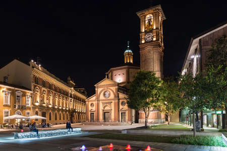 Legnano, Italy – September 30, 2019: Historic center of an Italian city at night. Piazza San Magno (square Saint Magno) with the Basilica of San Magno (XVI century), Lombardy region