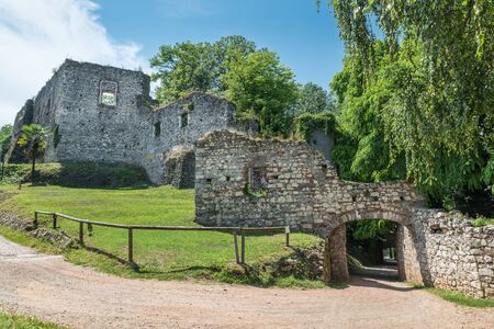 Old ruins of a fortress. Public park and the ruins of the medieval rocca (fortress) Borromea of Arona above the city overlooking lake Maggior, Italy Reklamní fotografie