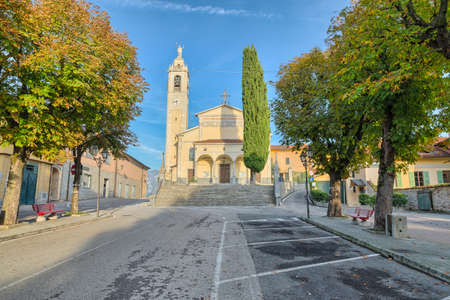 Historic center of the town of Cesana Brianza  with the church of San Fermo e Rustico (15th century), square Borromeo. Small town on Lake Pusiano in northern Italy