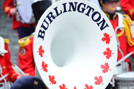 Close up of White Brass Horn from Burlington Band