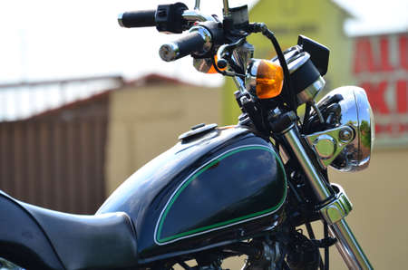 intruder: Close up of the Right Side of a Black Custom Motorcycle