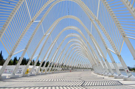 Architecture Pattern Details of Athens Olympic Stadium, Greece Editorial