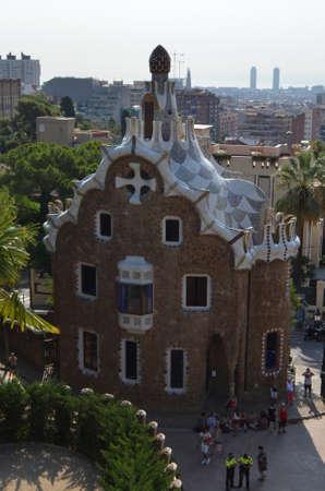 Left Building at the entrance of The Park Güell in Barcelona, Spain Editöryel