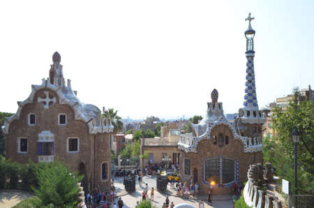 Two Buildings at the entrance of The Park Güell in Barcelona, Spain Editöryel