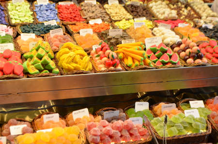 Close Up of Colorful Sweets on a Stand of a Public Market Stok Fotoğraf