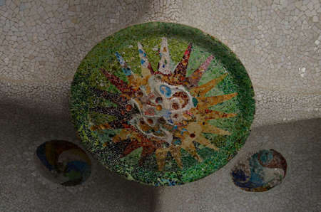 Detail of Mosaic Tiles in the Roof of Sala Hipostila in The Park Güell in Barcelona, Spain