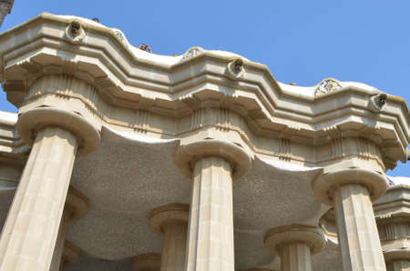 Detail of the Faucet and Columns of Sala Hipostila in The Park Güell in Barcelona, Spain
