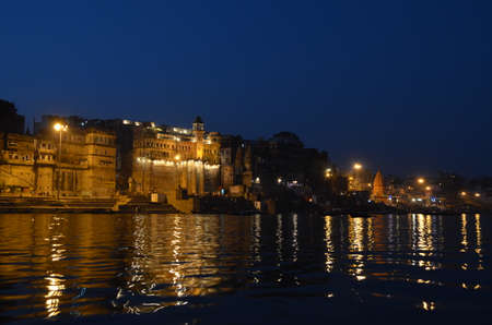 Night Light Reflections in The Ganges River in Varanasi, India