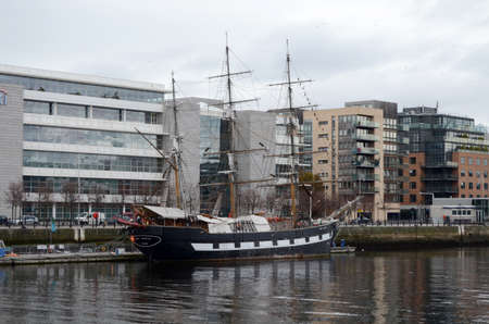 leinster: Jeanie Johnston Tall Ship at The River Liffey in Dublin, Ireland Editorial