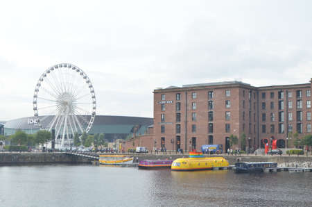 Wheel of Liverpool on the Albert Dock of the River Mersey in Liverpool, England
