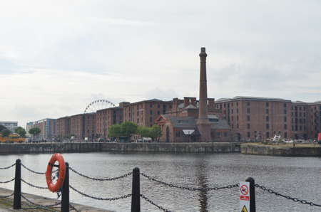 Street View of Pump House on the Albert Dock of the River Mersey in Liverpool, England