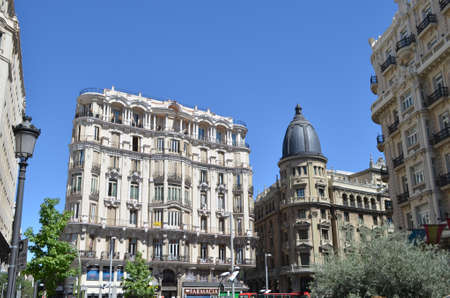 Street View of city center residential buildings in Madrid, Spain