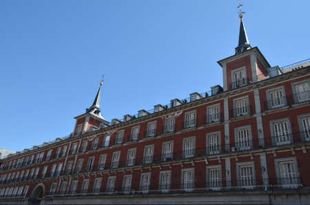Street Side View of residential building in Plaza Mayor in Madrid, Spain