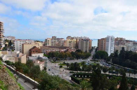 Plaza de Toros de La Malagueta and City Landscape View from Mount Gibralfaro in Málaga, Spain
