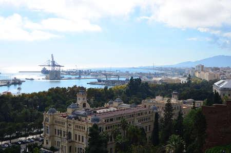 Port of Málaga and City Hall Landscape View from Mount Gibralfaro in Málaga, Spain