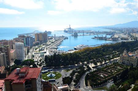 Port of Málaga Landscape View from Mount Gibralfaro in Málaga, Spain
