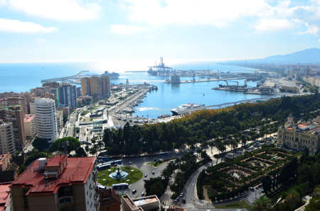 Port of M�laga Landscape View from Mount Gibralfaro in M�laga, Spain