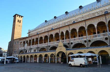 Side View of Palazzo Della Ragione from Piazza Delle Erbe in Padua, Italy