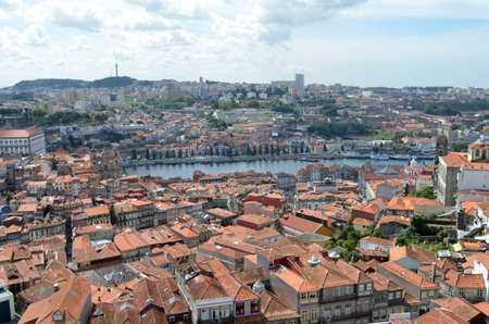 Douro River High View from Clérigos Church Tower in Porto, Portugal