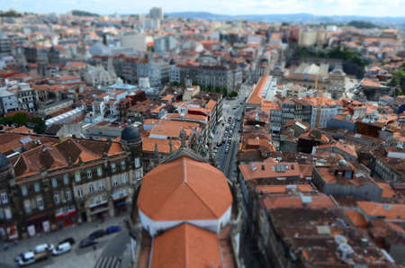 Tilt Shift Focus of City View from Clérigos Church Tower in Porto, Portugal