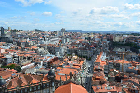 High City View from Clérigos Church Tower in Porto, Portugal Editorial